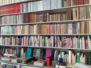 Bookcase at the Letterform Archive