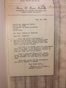 Letter from Harvey W. Brewer to Mrs. Hudspeth at the Humanities Research Center describing shipment of type specimens and writing manuals in 1969