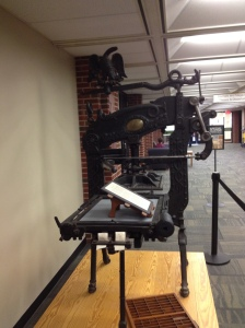 Columbian Hand Press adorns the entrance to the University of Iowa Special Collections Reading Room